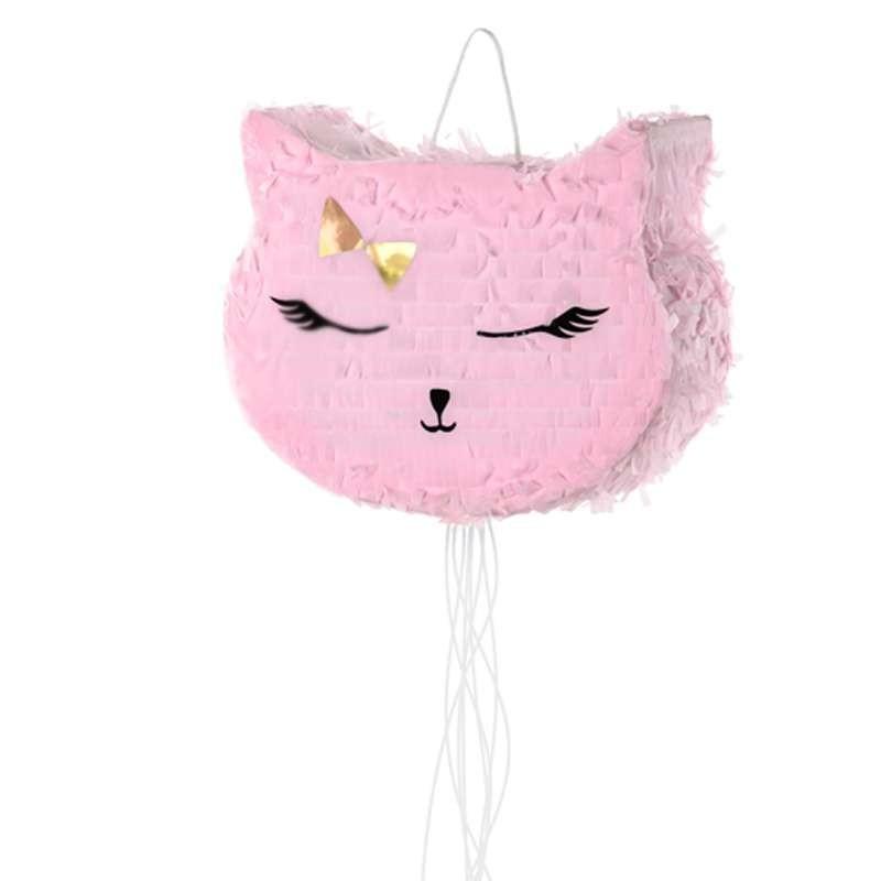 Pentolaccia per bambini a forma di gatto rosa