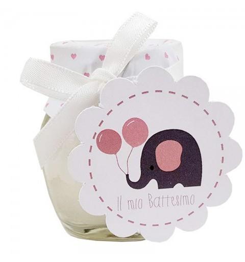 Top Candele profumate bomboniere per il battesimo baby elephant rosa AH14