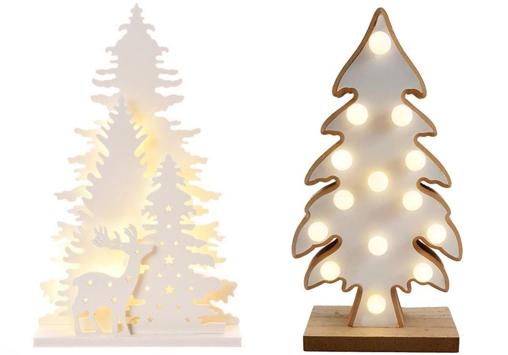 Alberi Di Natale In Legno Addobbati : Albero di natale in legno ad incastro con luci o da appendere